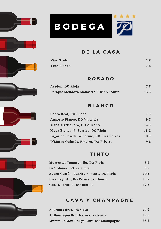 Carta vinos Hotel Principal Gandia