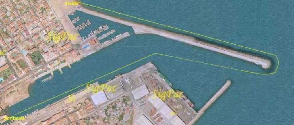 Mapa travesía nado Gandia de la escollera del puerto de Gandia