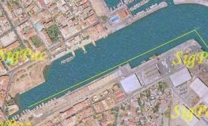 Mapa de la Travesía nado Gandia del puerto