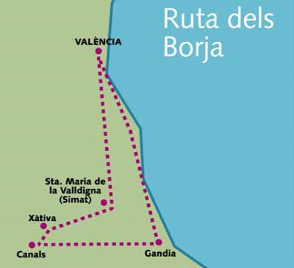 Mapa ruta Borgias