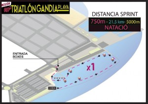 Plano recorrido natación vii triatlón gandia 2015 playa