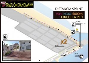Plano recorrido run vii triatlón gandia 2015 playa