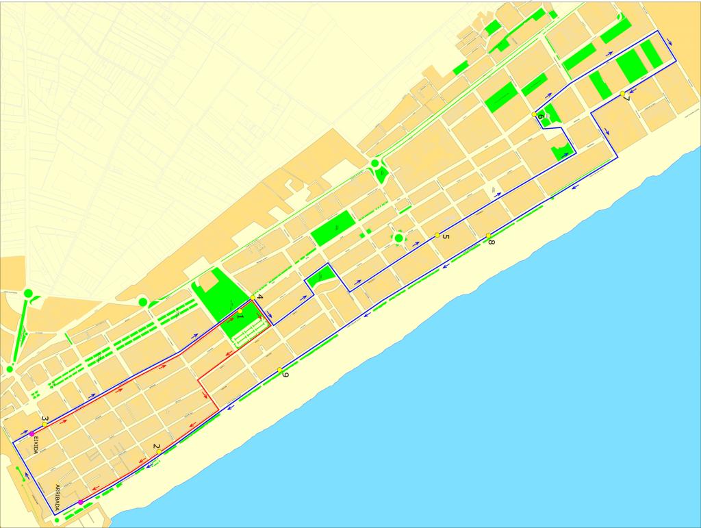 Plano de la carrera 10K nocturno playa Gandia