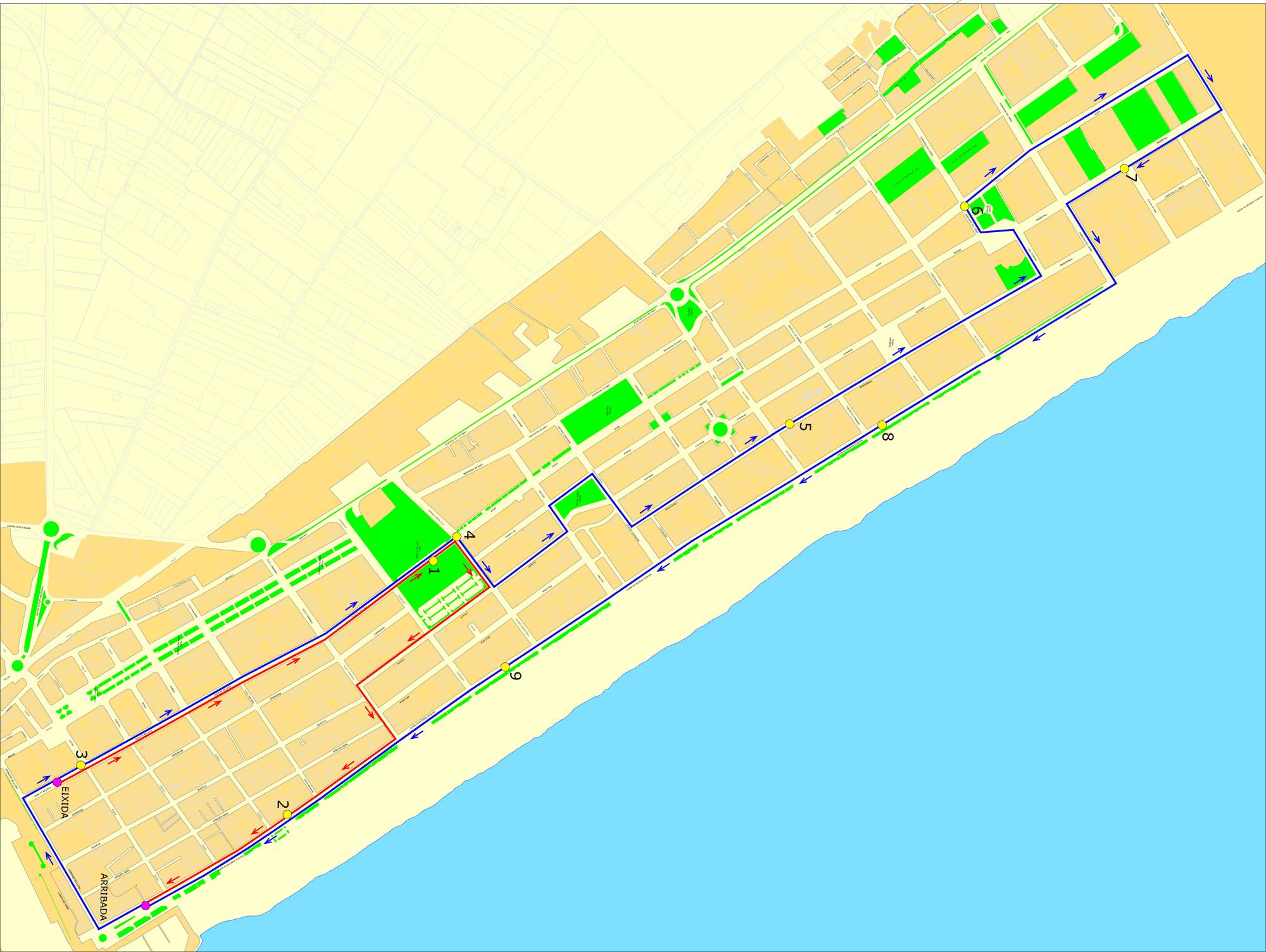 Plano de la carrera nocturna 10K playa de Gandia