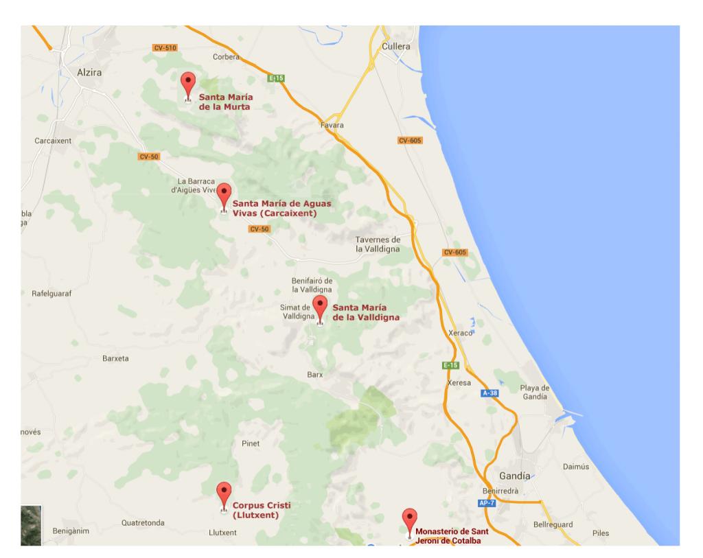 Plano de la ruta monestirs Valencia en coche