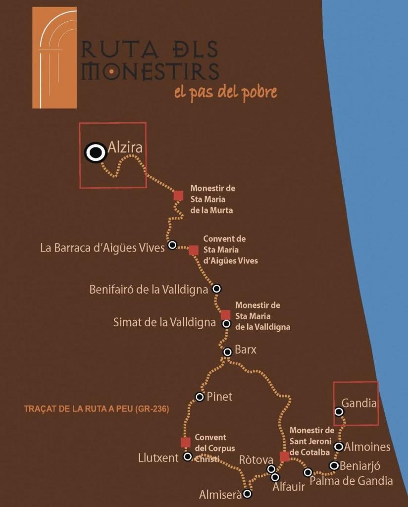 plano ruta monestirs Valencia
