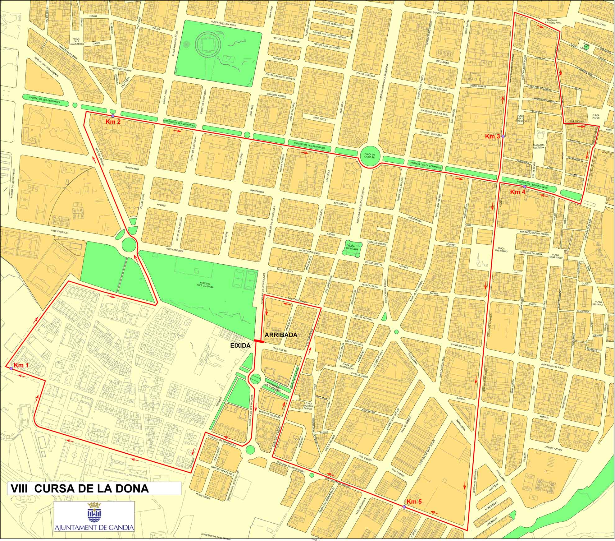Mapa del recorrido de la Cursa de la Dona Gandia