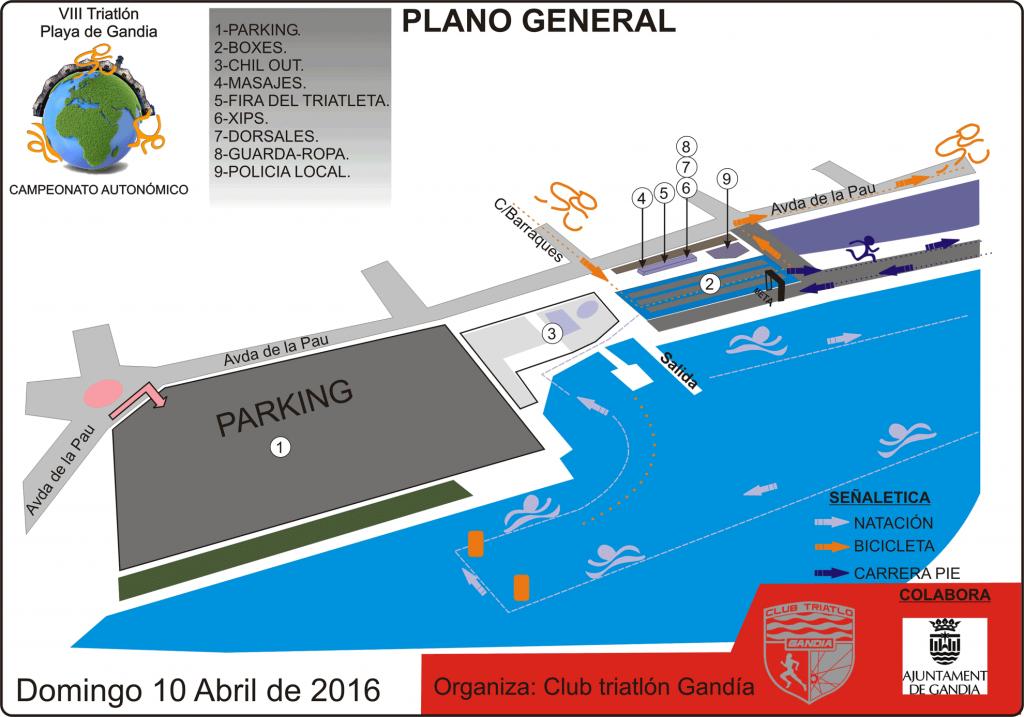 Esquema de las instalaciones viii triatlon playa gandia 2016