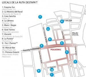 Imagen del plano de los locales adscritos al programa Destapa't Gandia 2016