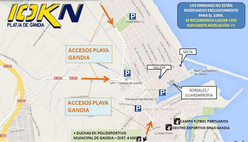 Plano zonas parking nocturna 10K playa de Gandia