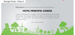 Foto del certificado de energía verde Hotel sostenible en Gandia