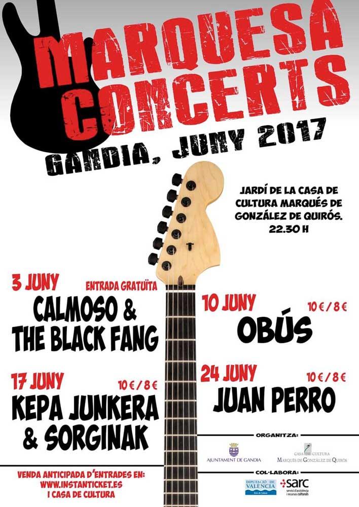 cartel Marquesa concerts actividades en Gandia junio 2017