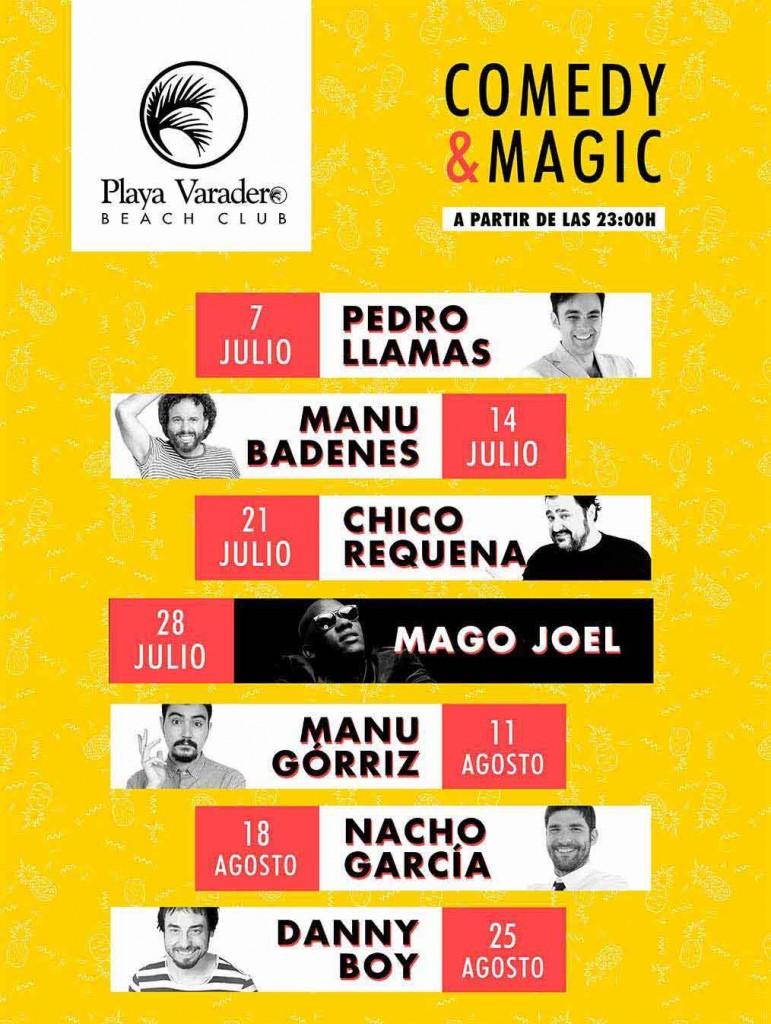 Cartel de actuaciones de cómicos en actividades en Gandia julio 2017