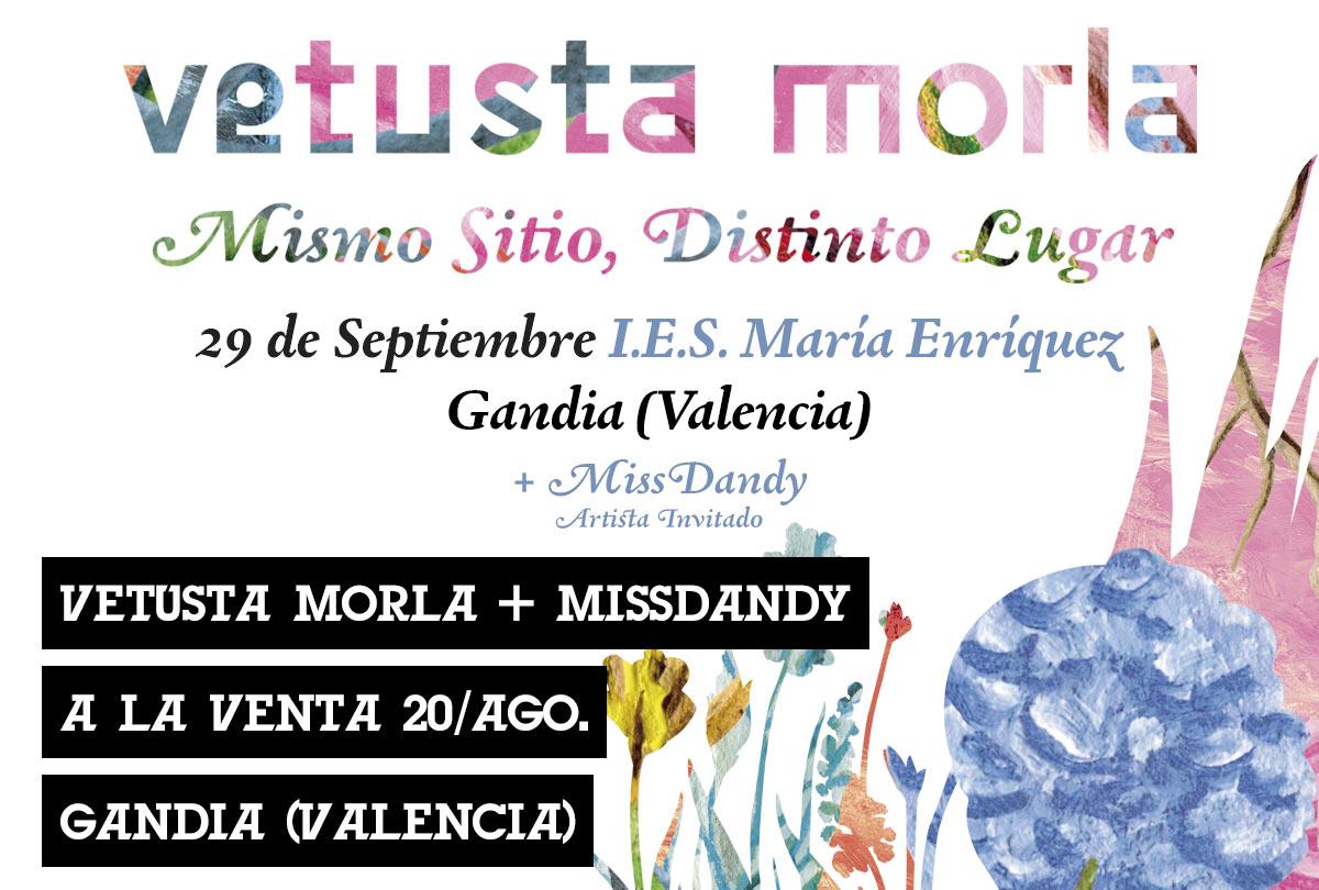 Cartel Vetusta Morla actividades en gandia septiembre 2018