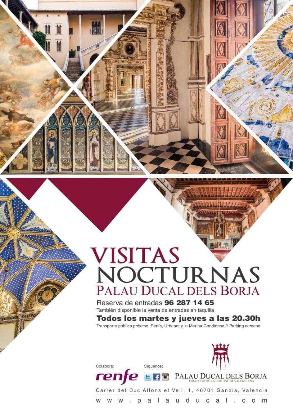 imagen del folleto visitas nocturnas al palau ducal de las actividades en Gandia playa julio 2019