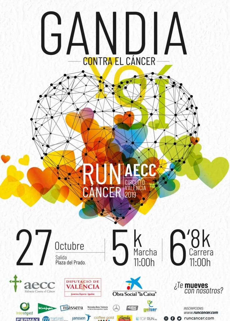 cartel carrera runcancer en las actividades Gandia octubre 2019.